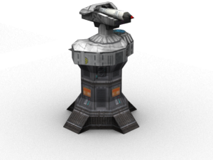 Turret with rocket launcher